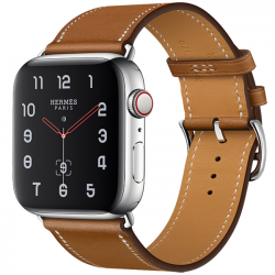 Apple Watch Hermès Series 4 44mm GPS + Cellular Stainless Steel Case with Fauve Barenia Leather Single Tour