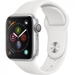 Apple Watch Series 4 44mm GPS Silver Aluminum Case with White Sport Band