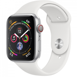 Apple Watch Series 4 40mm GPS + Cellular Silver Aluminum Case with White Sport Band