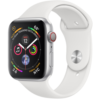 Apple Watch Series 4 44mm GPS + Cellular Silver Aluminum Case with White Sport Band