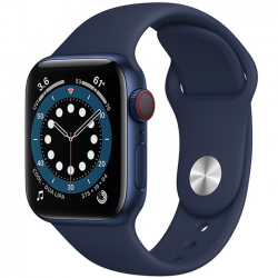 AW Series 6 40mm (M06Q3) GPS + Cellular Blue Aluminum Case with Deep Navy Sport Band