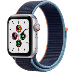 AW SE 40mm (MYEG2) LTE Silver Aluminum Case with Deep Navy Sport Loop