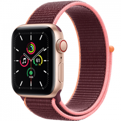 AW SE 40mm (MYEJ2) LTE Gold Aluminum Case with Plum Sport Loop