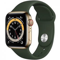 AW Series 6 40mm (M06V3) GPS + Cellular Gold Stainless Steel Case with Cyprus Green Sport Band