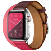 Apple Watch Hermès Series 4 40mm GPS + Cellular Stainless Steel Case with Bordeaux Rose Extrême Rose Azalée Swift Leather Double Tour