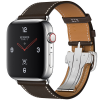 Apple Watch Hermès Series 4 44mm GPS + Cellular Stainless Steel Case with Ébène Barenia Leather Single Tour Deployment Buckle