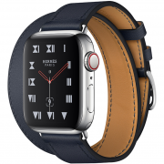 Apple Watch Hermès Series 4 40mm Blue GPS + Cellular Stainless Steel with Bleu Indigo Swift Leather Double Tour