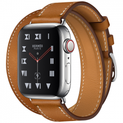 AW Hermès Series 4 40mm Stainless Steel Fauve Leather Double