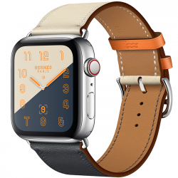 Apple Watch Hermès Series 4 44mm GPS + Cellular Stainless Steel Case with Indigo Craie Orange Swift Leather Single Tour