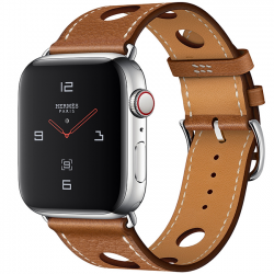 Apple Watch Hermès Series 4 44mm GPS + Cellular Stainless Steel Case with Fauve Grained Barenia Leather Single Tour Rallye