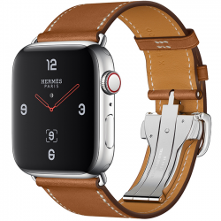 Apple Watch Hermès Series 4 44mm GPS + Cellular Stainless Steel Case with Fauve Barenia Leather Single Tour Deployment Buckle