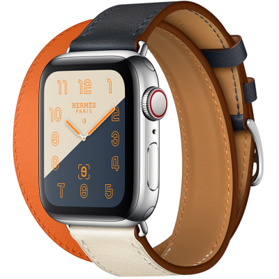 Apple Watch Hermès Series 4 40mm Brown GPS + Cellular Stainless Steel Case with Indigo Craie Orange Swift Leather Double Tour