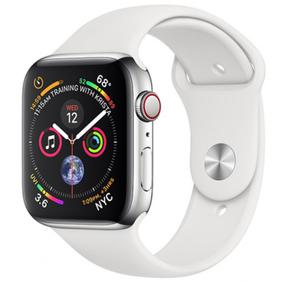 Apple Watch Series 4 40mm (MTUL2) GPS + Cellular Silver Stainless Steel Case with White Sport Band