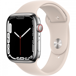 Apple Watch Series 7 41mm (MKHE3) GPS + Cellular Silver Stainless Steel Case with Starlight Sport Band