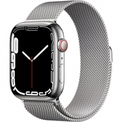 Apple Watch Series 7 41mm (MKHF3) GPS + Cellular Silver Stainless Steel Case with Silver Milanese Loop
