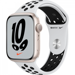 Apple Watch Series 7 41mm (MKN33) GPS Starlight Aluminum Case with Pure Platinum Black Nike Sport Band